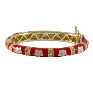 Luxiro Gold Finish Children's Red and White Flower Bangle Bracelet
