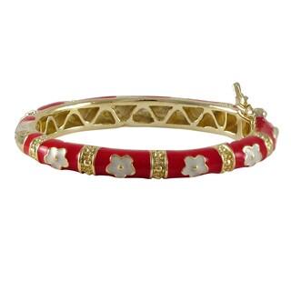 Luxiro Gold Finish Children's Red and White Flower Bangle Bracelet
