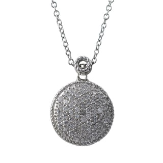 Luxiro Sterling Silver Micropave Cubic Zirconia Circle Pendant Necklace