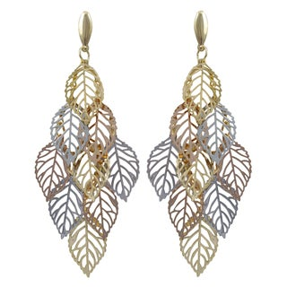 Luxiro Tri-color Gold Finish Leaves Chandelier Dangle Earrings