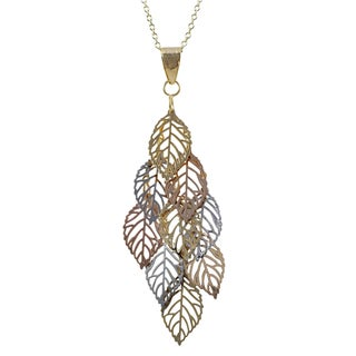 Luxiro Tri-color Gold Finish Leaves Chandelier Pendant Necklace