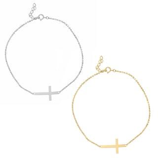 14k Yellow or White Gold Sideways Cross Chain Bracelet