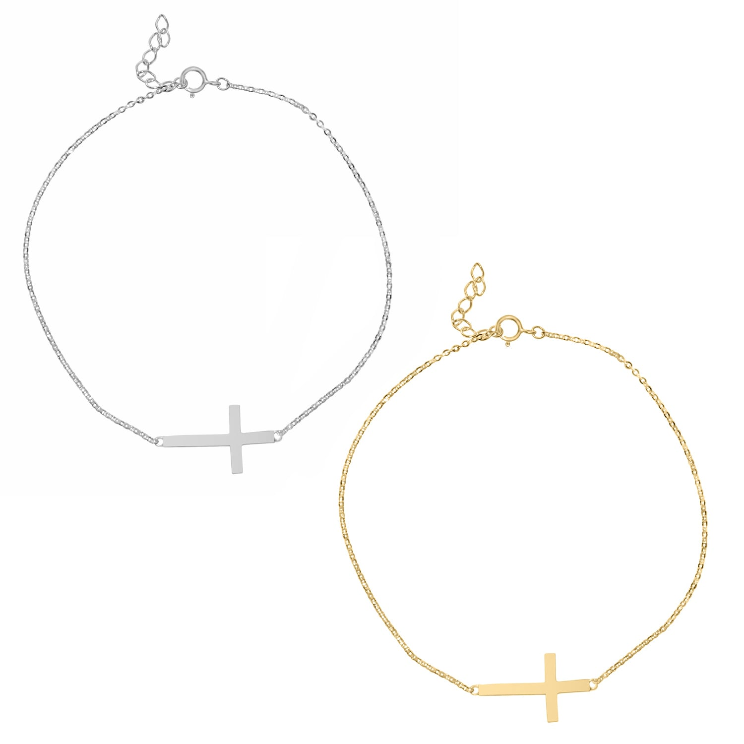 14k Yellow or White Gold Sideways Cross Chain Bracelet (W...