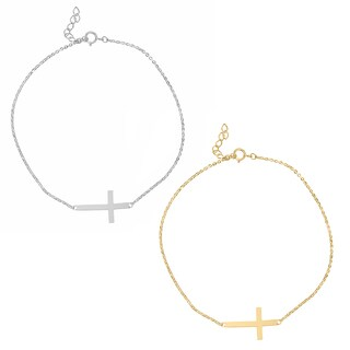14k Yellow or White Gold Sideways Cross Chain Bracelet