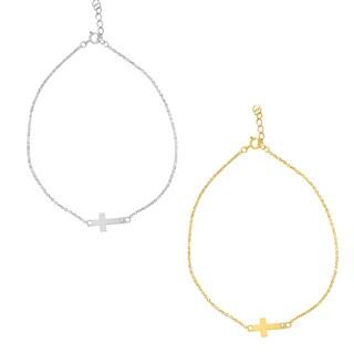 14k Gold Cubic Zirconia Sideways Cross Chain Bracelet