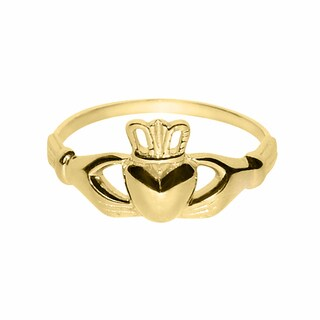 14k Yellow Gold Ladies Classic Celtic Claddagh Ring
