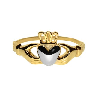 14k Two-tone Gold Classic Celtic Claddagh Ring