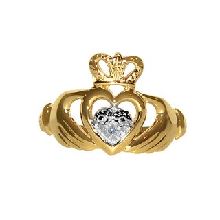 14k Two-tone Cubic Zirconia Accent Classic Claddagh Ring