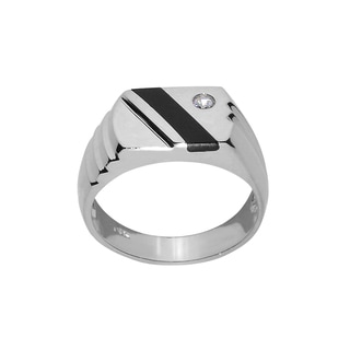 14k White Gold Men's Onyx and Cubic Zirconia Ring