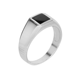 14k White Gold Women's Genuine Onyx Ring