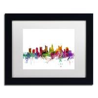 Michael Tompsett 'Columbus Ohio Skyline' White Matte, Black Framed Canvas Wall Art