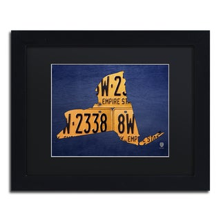 Design Turnpike 'New York License Plate Map' Black Matte, Black Framed Canvas Wall Art