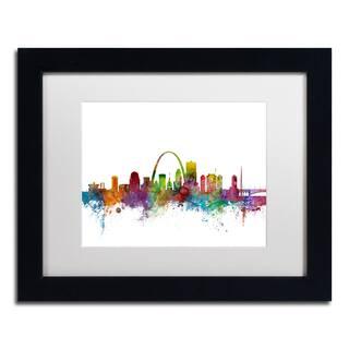 Michael Tompsett 'St. Louis Missouri Skyline' White Matte, Black Framed Canvas Wall Art