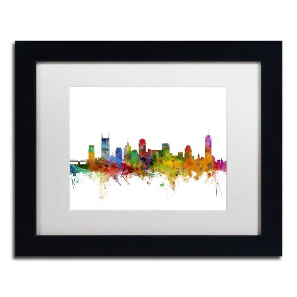 Michael Tompsett 'Nashville Tennessee Skyline' White Matte, Black Framed Canvas Wall Art
