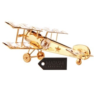 Matashi 24K Gold Plated Airplane Ornament with Genuine Matashi Crystals
