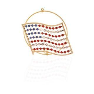 Matashi 24K Gold Plated American Flag with Genuine Matashi Crystals