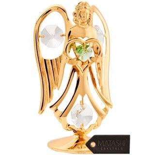 Matashi 24K Gold Plated August Angel Birthstone Table Top with Genuine Matashi Crystals