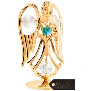 Matashi 24K Gold Plated December Angel Birth Stone Table Top with Genuine Matashi Crystals