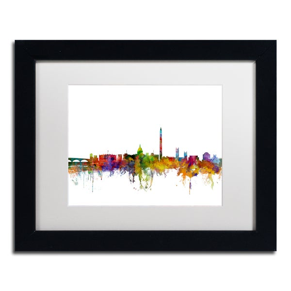 Michael Tompsett 'Washington DC Skyline II' White Matte, Black Framed Canvas Wall Art