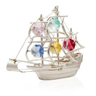 Matashi Highly Polished Silver Plated Beautiful Ship with Genuine Colorful Matashi Crystals