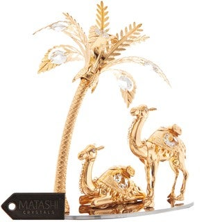Matashi 24K Gold Plated Beautiful Camels and Palm Tree Ornament with Genuine Matashi Crystals