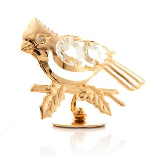 Matashi 24K Gold Plated Beautiful Blue Jay Ornament/Table Top with Genuine Matashi Crystals