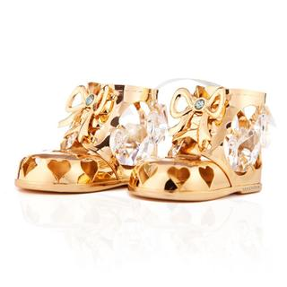 24K Gold Plated Baby Boy Booties Ornament Made with Genuine Matashi Crystals