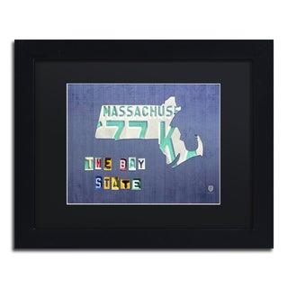 Design Turnpike 'Massachusetts License Plate' Black Matte, Black Framed Canvas Wall Art