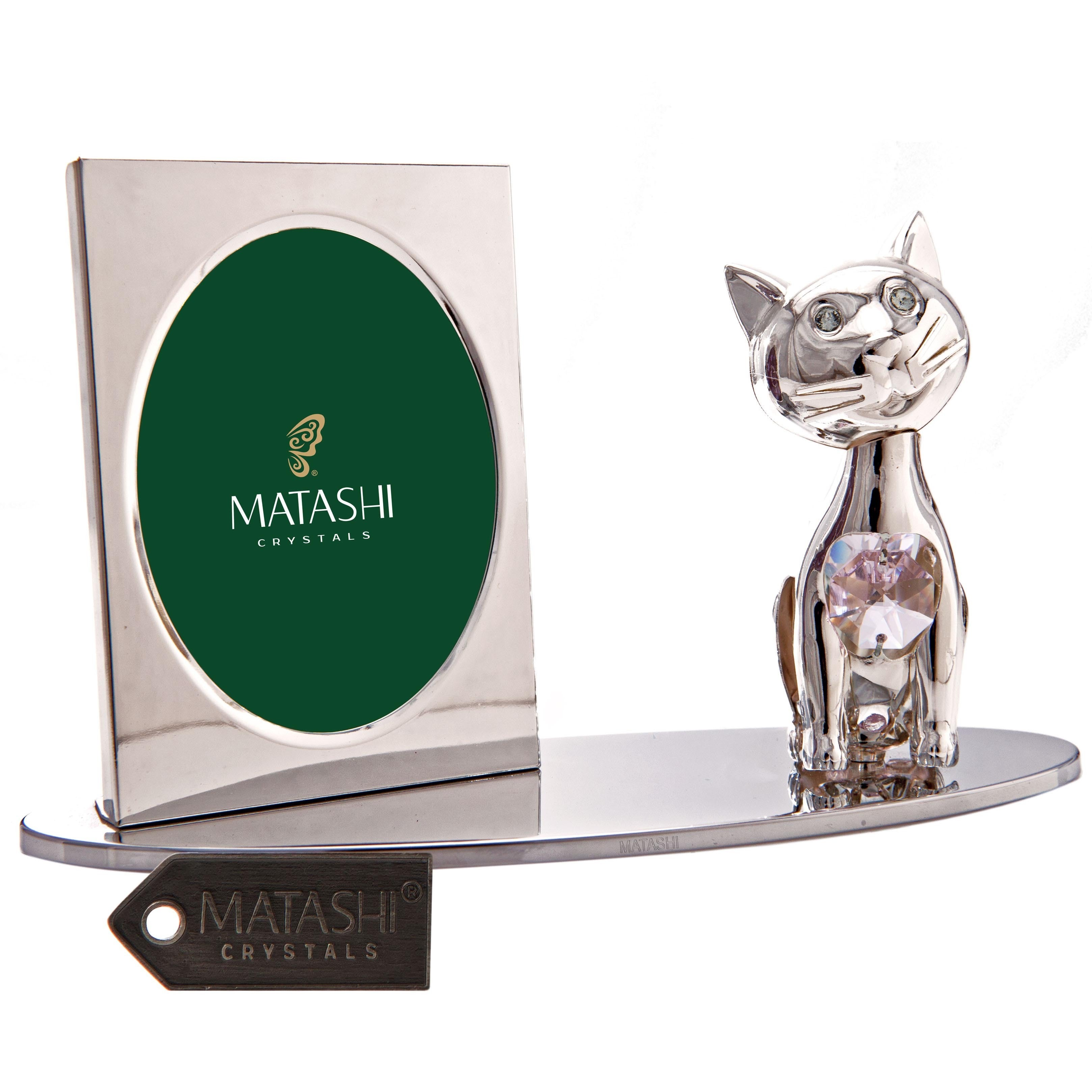 Matashi Cartoon Cat Silver Picture Frame with Genuine Mat...