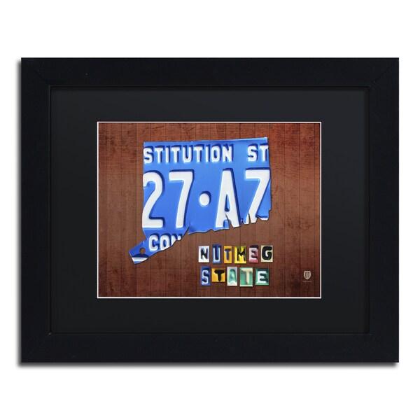 Design Turnpike 'Connecticut License Plate' Black Matte, Black Framed Canvas Wall Art