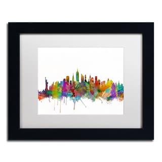 Michael Tompsett 'New York City Skyline' White Matte, Black Framed Canvas Wall Art