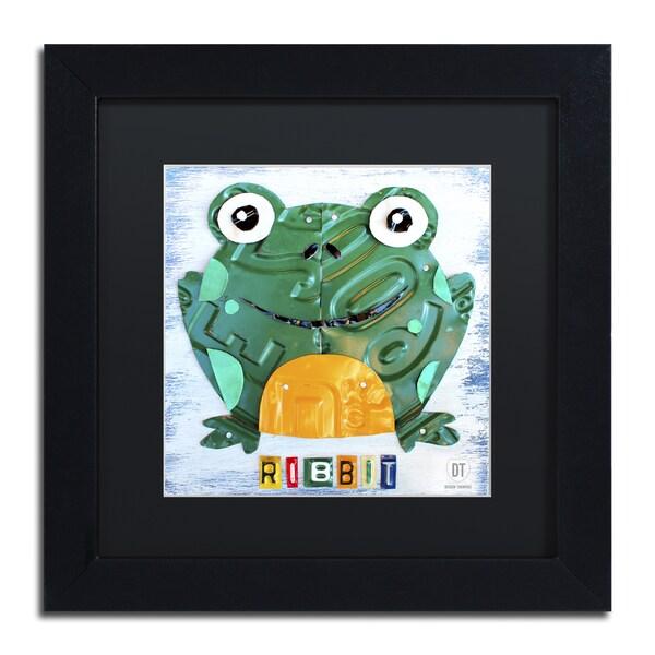 Design Turnpike 'Ribbit the Frog' Black Matte, Black Framed Canvas Wall Art