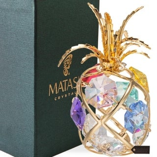 Matashi 24K Gold Plated Highly Polished Mini Pineapple Ornament with Genuine Matashi Crystals