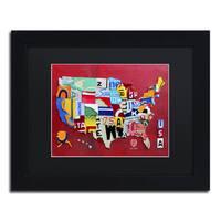Design Turnpike 'License Plate Map Miniature' Black Matte, Black Framed Canvas Wall Art