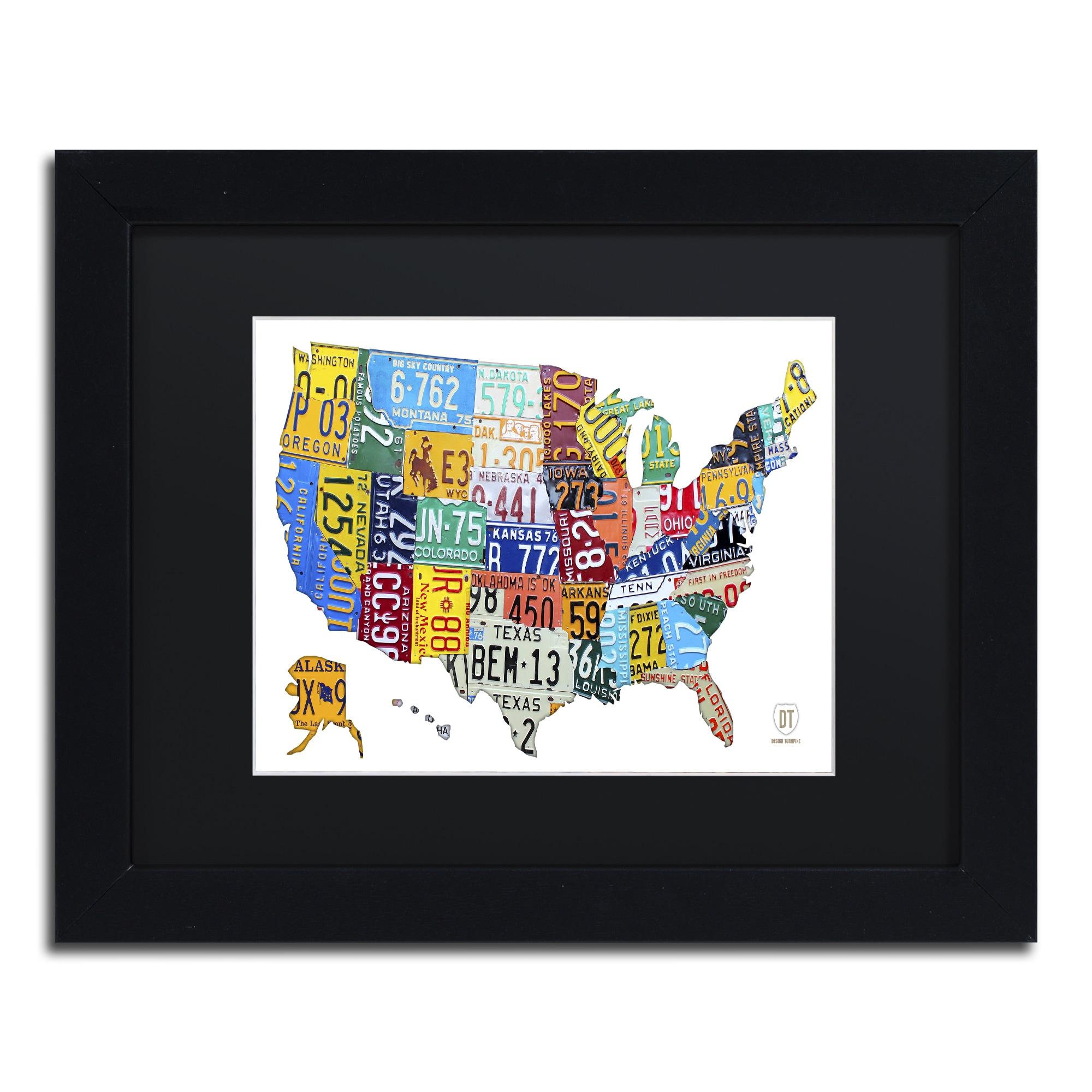 Design Turnpike \'License Plate Map USA 2\' Black Matte, Black Framed Canvas  Wall Art