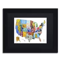 Design Turnpike 'License Plate Map USA 2' Black Matte, Black Framed Canvas Wall Art