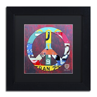 Design Turnpike 'Peace' Black Matte, Black Framed Canvas Wall Art