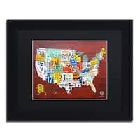 Design Turnpike 'License Plate Map USA' Black Matte, Black Framed Canvas Wall Art