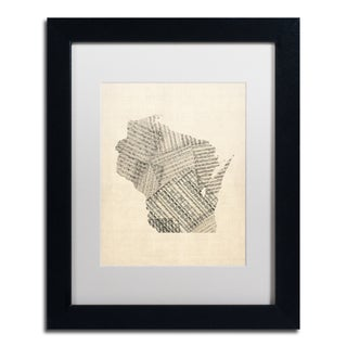 Michael Tompsett 'Old Sheet Music Map of Wisconsin' White Matte, Black Framed Canvas Wall Art