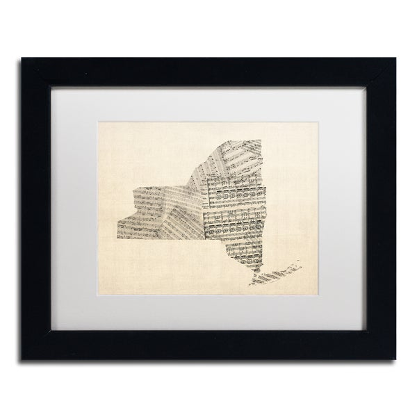 Michael Tompsett 'Old Sheet Music Map of New York' White Matte, Black Framed Canvas Wall Art