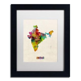 Michael Tompsett 'India Watercolor Map' White Matte, Black Framed Canvas Wall Art