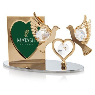 Matashi 24K Gold Plated Beautiful Double Dove with Heart Picture Frame with Genuine Matashi Crystals