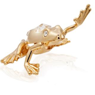 Matashi 24K Gold Plated Frog in High-5 Position Ornament with Genuine Matashi Crystals