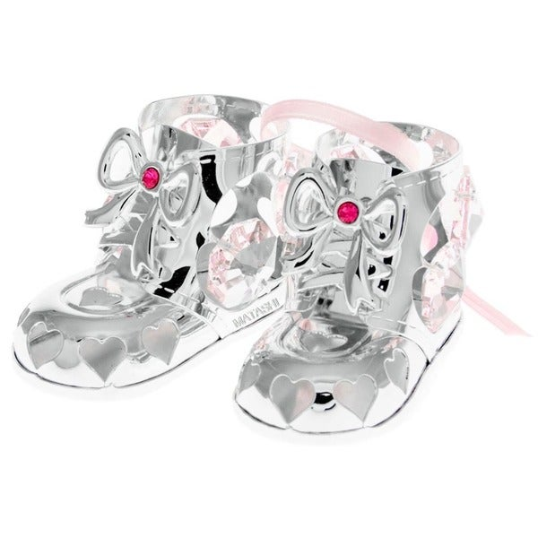 Matashi Silver Plated Girl Baby Booties Ornament with Genuine Matashi Crystals