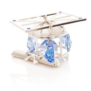 Matashi Silver Plated Highly Polished Graduation Hat Ornament with Genuine Matashi Blue Crystals