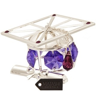 Matashi Silver Plated Highly Polished Graduation Hat Ornament with Genuine Lavender Matashi Crystals