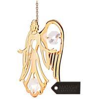 Matashi 24K Gold Plated Guardian Angel Ornament with Genuine Matashi Crystals