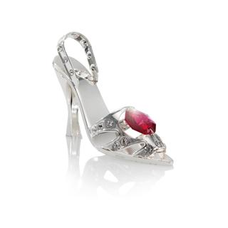 Matashi Silver Plated High Heel Figurine with Clear and Red Genuine Matashi Crystals