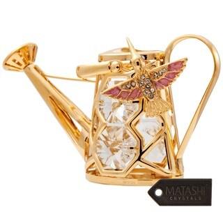 Matashi 24K Gold Plated Humming Bird Watering Can Ornament with Genuine Matashi Crystals