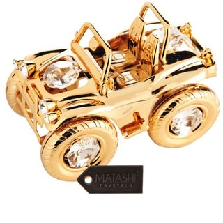 Matashi 24K Gold Plated Jeep Wrangler Ornament with Genuine Matashi Crystals
